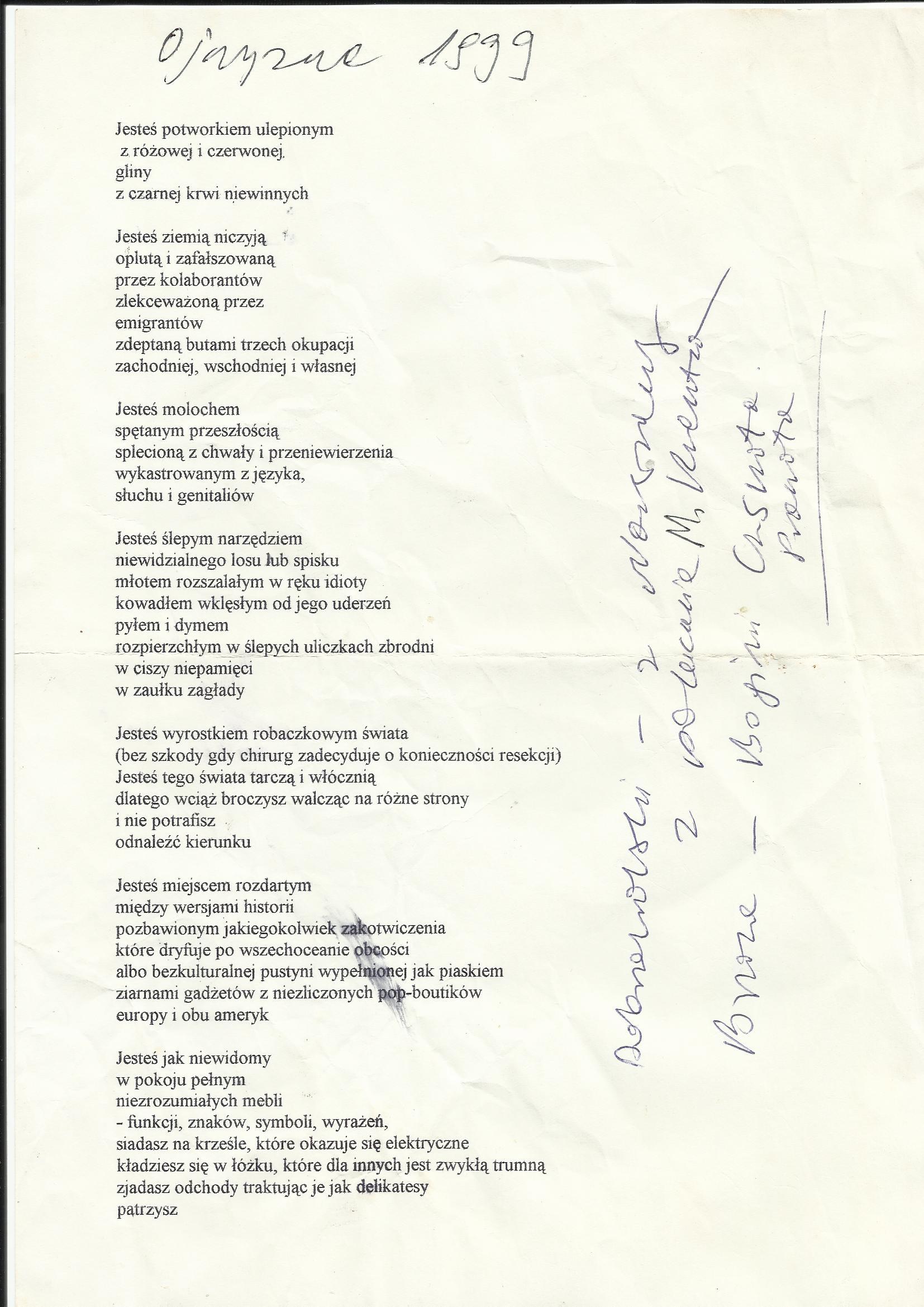 Wiersz Ojczyzna Napisany W Roku 1999 Białczyński
