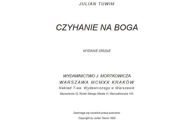 Julian Tuwim 1894 1953 Polsko żydowski Strażnik Wiary